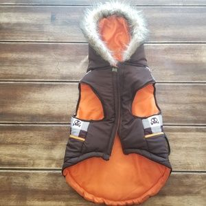 Wag-A-Tude Check Puffer Dog Jacket Fur Hoodie L